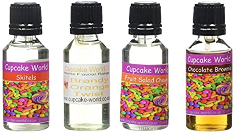 Cupcake World Food Flavourings Brandy and Orange Twist/Skitels Candy/Fruit Salad Chewy/Chocolate Brownie Bottles 28.5 ml (Pack of
