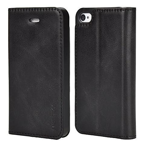 Coque iPhone 4s, Mulbess Étui Housse en Cuir pour Apple iPhone 4 / 4s, Format Livre Horizontale Emplacements pour Cartes, Auto-support Support Bureau - Noir