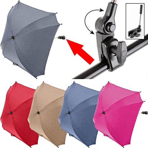 ALTABEBE XL SONNENSCHIRM / SCHIRM (UV-SCHUTZ 50+) für Kinderwagen / Buggy (Im angesagten MELANGE-Design) Ø 80 cm (DUNKELBLAU)