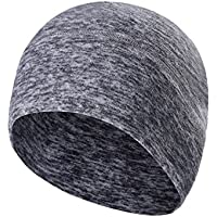 Tagvo Winter Fleece Beanie Cap, Running Beanie Hat Headwear with Ear Covers, Helmet Liner for Adults Women and Men Elastic Size Universal (Grey)