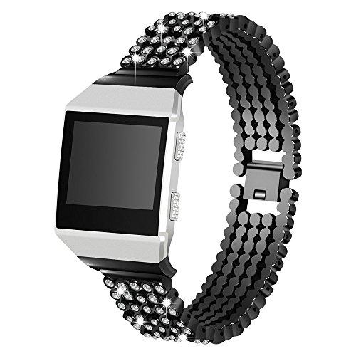 Xbeast Newest!!! Uhrenarmbänder - Modelle für Fitbit Ionic - 22 mm, Armbandlänge: 170 mm - Luxuskristall-Ersatzarmband - Armband aus Aluminium mit Interlock-Verschluss (22mm Aluminium-uhrenarmband)