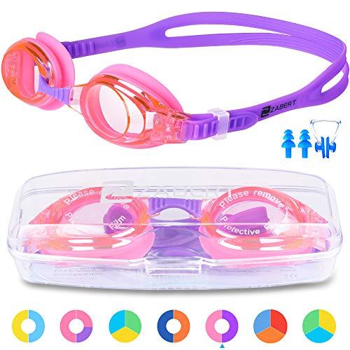 ZABERT Schwimmbrille für Kinder, K2 Schwimmbrillen Kinderschwimmbrille Chlorbrille für Jugendliche Kinder Kind Junior Jungen Mädchen 2 3 4 5 6 7 8 9 10 11 12 Jahre Pink Rosa Lila
