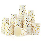 esonmus 100 Pappbecher Gold Dot 250ml Kaffeebecher to Go Trinkbecher Einweg Papierbecher Für Party Kaffee, Tee, Schokolade, Heißen Und Kalten Getränken