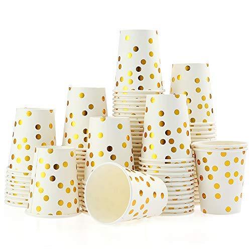 100 Piezas/Set Vasos de Papel Sellados de 9 0nzas de 0ro Juego de Taza de Papel de 100 Piezas Lunares de Oro Copas Desechables Copas de Bebidas Desechables