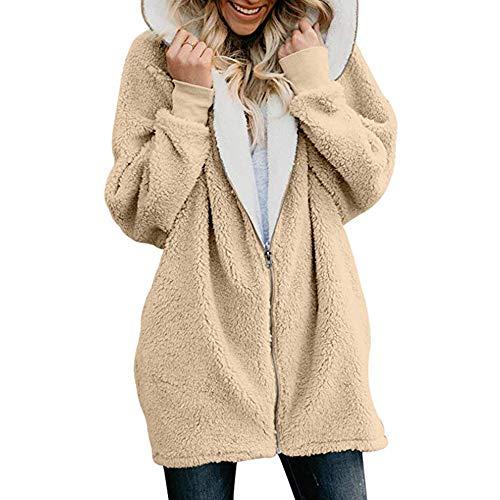 LGWQ Frauen Jacke Herbst und Winter Reißverschluss Strickjacke warme Jacke Plüsch Pullover Mantel Casual Fashion Outwear Faux Fleece Frauen Pelzmantel mit Kapuze Warme Mäntel Oberbekleidung S - 5XL