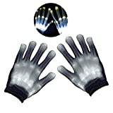 Teepao LED Leuchtende Skelett-Handschuhe, Handschuhe Glow mit Multi Modi, Bunten Finger Beleuchtung für Vereine/Raves/Festivals/Halloween/Bonfire Night/Party/Spiele (Weiß) Weiß