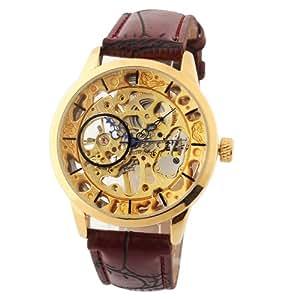 Yesurprise 045805–Montre de Poignet pour homme, bracelet en cuir marron