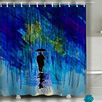 Jiuyiqiy2 Bathroom Shower Curtain Set with Hooks - Spa, Hotel, Water Repellent 60x72 INCH man hat umbrella rain coat Black Orange