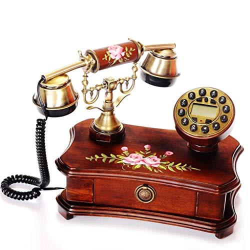 RMXMY Europäische antike Retro Telefon Massivholz pastoralen handbemalte Mode kreative Persönlichkeit Festnetz