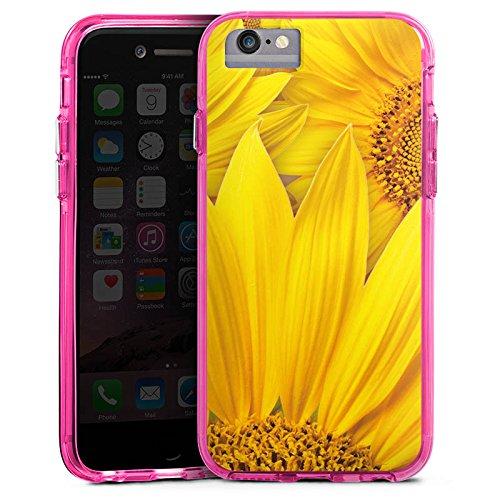 Apple iPhone 6s Plus Bumper Hülle Bumper Case Glitzer Hülle Sonnenblumen Gelb Yellow Bumper Case transparent pink