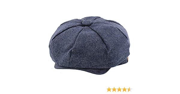 0a013dcb018 The Hat Company  Elijah  Blue Herringbone Bakerboy Newsboy Cap   Amazon.co.uk  Clothing