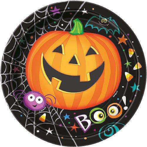 8 Stk. Partyteller Pumpkin Pals 18cm - Pappteller Halloween Kürbis Party Spooky - Essen Spooky Halloween-party