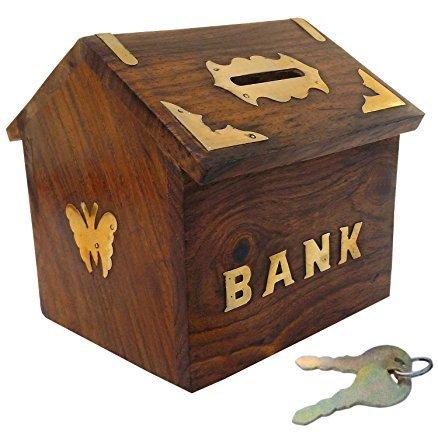 G&D Banco de Dinero de Madera Hut en Forma de Banco de Moneda | Hucha para niños y Adultos con Cerradura | Caja de Ahorro de Dinero Regalos Decorativos para Toda ocasión