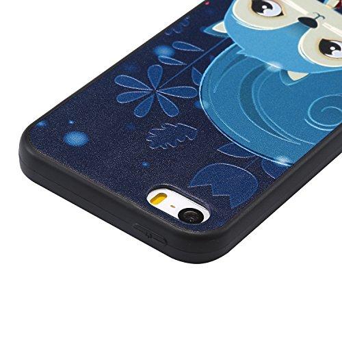 Hülle für iPhone SE 5 5S 5G, Schwarz Silikon Schutzhülle für iPhone SE 5 5S 5G Case TPU Bumper Handyhülle, Cozy Hut ® [Thin Fit] [Schock Absorption] Soft Flex Silikon Schlanke Hülle [Schwarz] Premium  Blaue Eichhörnchen