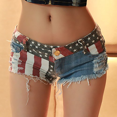 Ruiyue Mini-Jeans-Shorts, Low-Rise-amerikanische Flagge drucken Daisy Duke zerrissen Denim-Shorts für Frauen (Size : L) (Low-rise Denim-jean-shorts)