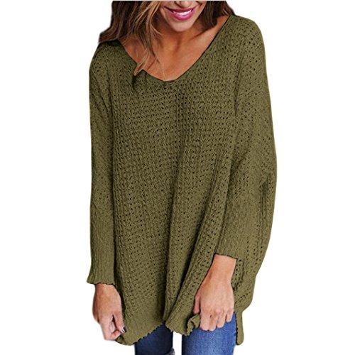 Damen Pullover Kleider Xinan V-Neck Lose Knitted Langarm Pullover Frauen Strick Tops (L, Armeegrün)