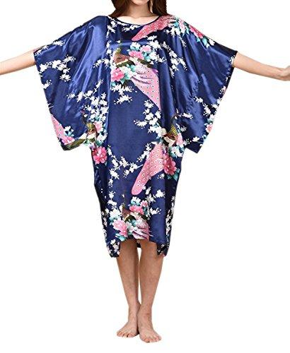 BigForest Femmes Batwing Sleeve Pullover Satin Peignoir Plus Size Pyjama robe Navy