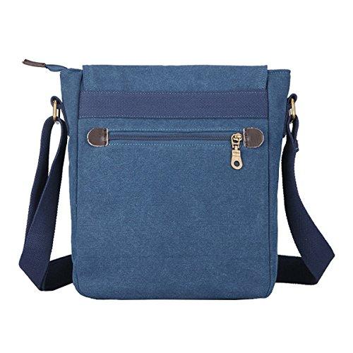 Super moderno da uomo, in tela a tracolla messenger bag Satchel Bookbag, borsa a tracolla iPad bag Daily bag, Uomo, Coffee Medium Blue Medium