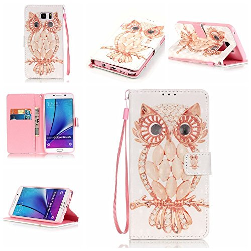 Firefish Galaxy Note 5Fall, [Standfunktion] [3D-Druck] PU Leder Double Layer Schutzhülle mit Magnetverschluss Handschlaufe für Samsung Galaxy Note 5, Shell Owl, Samsung Galaxy Note 5