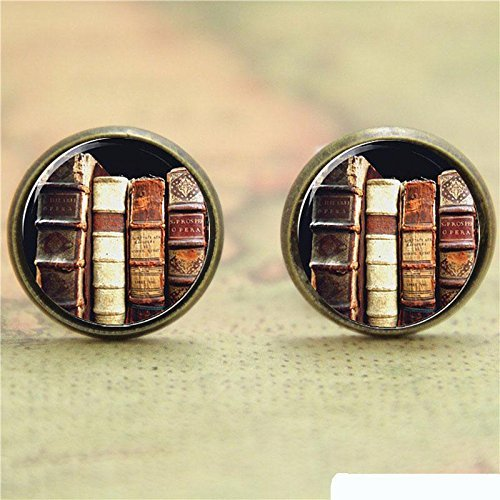 Vintage A Stapel der Bücher auf dem Bücherregal, Glas, Modeschmuck, Accessoires, handgefertigt, Bronze -