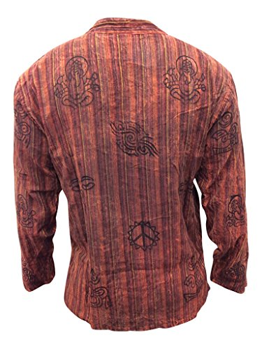 Shopoholic Fashion unisex stonewashed gestreift Leicht Hippy Großvater Shirt Kastanienbraun Mix