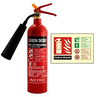 2kg CO2 Fire Extinguisher From A2Z Fire With Photoluminescent ID Sign
