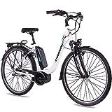 CHRISSON 28 Zoll Damen Trekking- und City-E-Bike - E-Cassiopea Weiss - Elektro Fahrrad Damen - 7G Shimano Nexus Nabenschaltung - Pedelec mit Bosch Mittelmotor Active Line 250W 40Nm, Rücktritt
