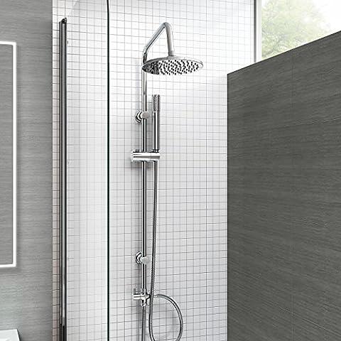 iBathUK Kit barre de douche pour baignoire Mitigeur moderne chromé Barre ronde tête de douche
