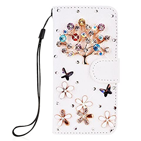SmartLegend Bling PU Cover Samsung Galaxy S3 i9300 Phone Case Wallet Lanyard Strap Carrying Glitter Rhinestone Stylish Smartphone Leather Flip Case Stand Function Cellphone Bumper Back Magnet Closure and Card Slots Holster Bookstyle Mobile Phone Protective Cover - White
