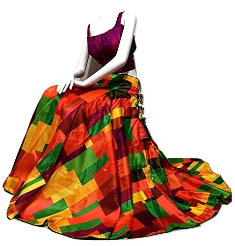 Morang Women's Multi Colour Bangalore Satin Lehenga Choli