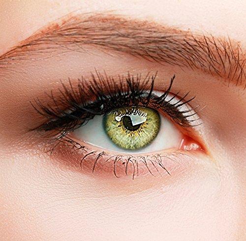 ELFENWALD farbige Kontaktlinsen, gelbbraun hellbraun BERNSTEIN / AMBER, natürlicher Look, maximaler Tragekomfort, ohne Stärke, 1 Paar weiche Farblinsen, inkl. Behälter und Anleitung, 3 - Monatslinsen