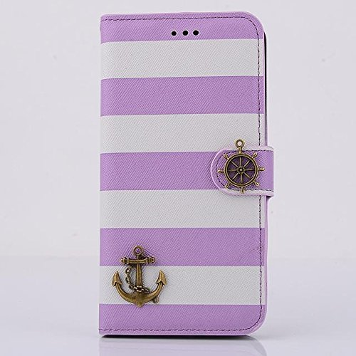 "inShang Hülle für Apple iPhone 6 Plus iPhone 6S Plus 5.5 inch iPhone 6+ iPhone 6S+ iPhone6 5.5"", Cover Mit Modisch Klickschnalle + Errichten-in der Tasche + ZEBRA STRIPE SHIP DECORATION, Edles PU Lede stripe ship purple"