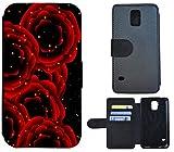 Flip Cover Schutz Hülle Handy Tasche Etui Case für (Samsung Galaxy S5 Neo, 1248 Rose Rosen Schwarz Rot)