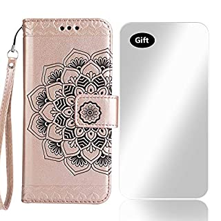 Bear Village Sony Xperia XZ Premium Case, Leather Wallet Cover with Free Tempered Glass Screen Protector, Anti-scratch Embossing PU Case for Sony Xperia XZ Premium (#2 Rose Gold)