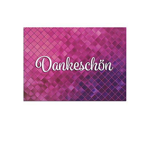 15 schöne Dankeskarten (Abstrakt pink) mit 15 Umschlägen im Set - Danksagungskarten, Danke sagen nach Hochzeit, Geburt, Baby, Taufe, Geburtstag