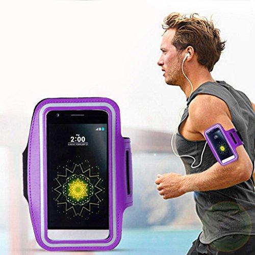 Saingace® Armband-Gymnastik-laufender Sport-Armbinde-Abdeckungs-Fall 5,8 Zoll Universal Für LG G5, Gymnastik, Jogging, Workout, Rad fahren, Wandern (Lila)
