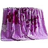 Decken Flannel weiche Flauschige gemütliche warme lila Blumenmuster Schlafcouch 200 * 230 cm WYQLZ