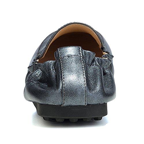 OZZEG Frau Flach Weiche Schuhe Mode Entworfen Leder Bummler Grau