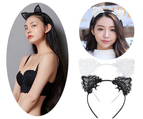 tpocean Sweet schwarz weiß Spitze Katze bunny Ohren Stirnband Sexy Haarband Spannreifen Frauen Mädchen Make-up mit Kopfbedeckungen für den täglichen Cosplay Kostüm ()