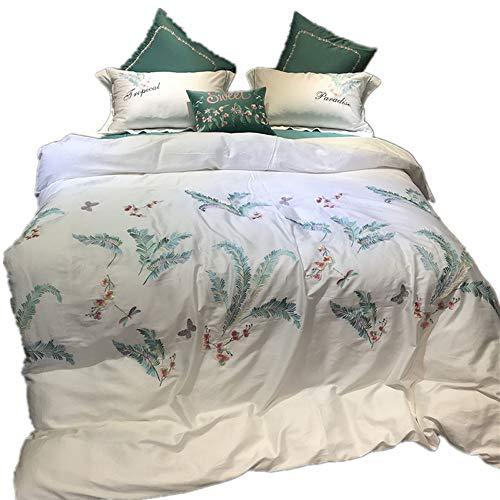 TONGSH Bettbezug Queen Set, Luxus hypoallergene Mikrofaser Daunen Blumen Tröster Steppdecke mit Reißverschluss, Stickerei Satin Baumwolle Bettwäsche, beste moderne für Frauen Bett, weiß grün Floral Le -