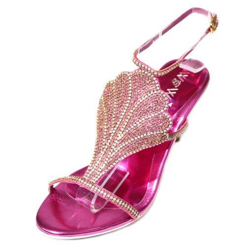 W & W femme mariée, demoiselles d'honneur avec strass pour mariage fête soirée FASHION Chaussures Taille (rose, vert, violet)-Métal Doré Rose - Shocking Pink