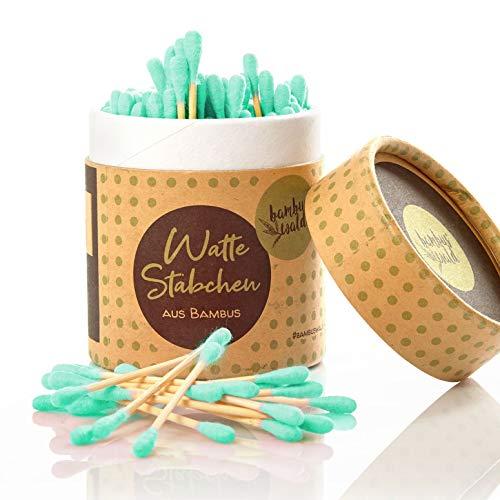 Bambus Wattestäbchen (200x)   100% biologisch, nachhaltig & ZERO WASTE! Ohrenstäbchen bzw. Pflegestäbchen mit Wattekopf in einer stylischen Dose   für Make-Up Kosmetik Ohren Nase Tupfen