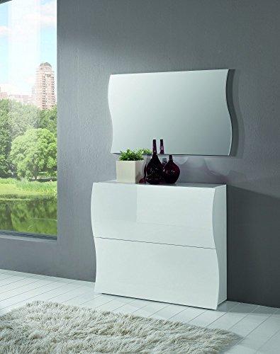 Garderoben-Kombination | Garderoben-Set | Wand-Garderobe | Schuhschrank | DieleFlur | Kipper | mit Spiegel | weiß Hochglanz