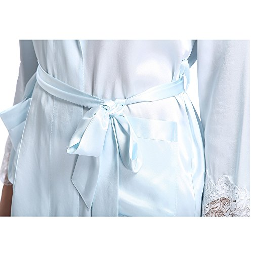 LILYSILK Ensemble de Pyjama Femme 100% Soie de Mûrier Décor de Dentelle Bleu Ciel Clair