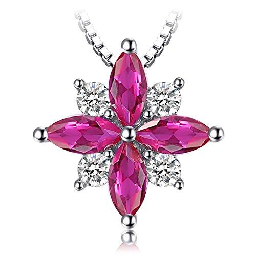 JewelryPalace Flowers 0.85ct Erstellt Rubin Anhänger 925 Sterling Silber