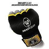 Beast Gear Guantes de boxeo interiores avanzados – Guantes de gel de calidad superior para deportes de combate, artes marciales y artes marciales, color negro y amarillo, tamaño Medium
