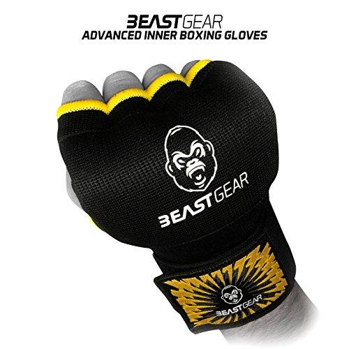 ¿Qué pasaría si pudieras golpear más fuerte y entrenar durante más tiempo sin hacerte daño en las manos?      Usa los Guantes de Gel de Beast Gear para proteger tus nudillos, dedos, muñecas, huesos, tendones y músculos. ¡Reduce el riesgo de l...