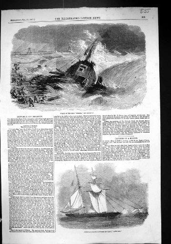 una-stampa-antica-dellamericano-di-brighton-del-pellegrino-di-brig-del-relitto-di-1857-navi-sbava-hm
