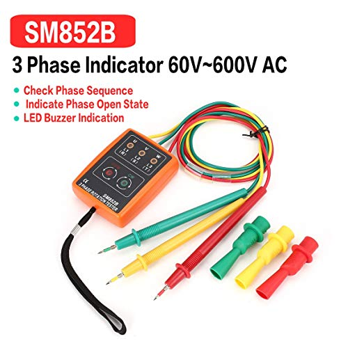 SM852B 3 Phase Rotation Tester Digitale Phasenanzeige Detektor LED Summer Phasenfolge Meter Spannung Tester 60 V ~ 600 V AC (Grau & Orange)