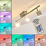 Deckenleuchte Parnu aus Metall Chrom/Nickel matt - LED Zimmerlampe für Wohnzimmer - Schlafzimmer - Flur - mit Fernbedienung und RGB Farbwechsler - Leuchte ist dimmbar - Spots beliebig dreh- und schwenkbar.